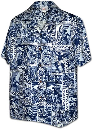 410-3824 Navy Men's Hawaiian Shirts