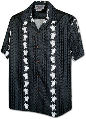 410-3832 Black Men's Hawaiian Shirts