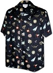 410-3838 Black Men's Hawaiian Shirts
