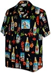 410-3840 Black Men's Hawaiian Shirts