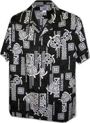 410-3856 Black Men's Hawaiian Shirts