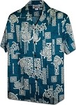 410-3856 Teal Men's Hawaiian Shirts