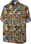 410-3874 Gold Pacific Legend Men's Hawaiian Shirts