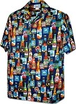 410-3884 Navy Men's Pacific Legend Hawaiian Shirts
