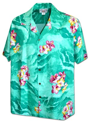 410-3902 Green Men's Pacific Legend Hawaiian Shirts