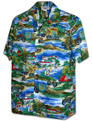 410-3914 Blue Men's Pacific Legend Hawaiian Shirts