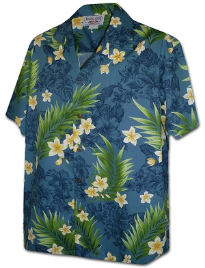 410-3980 Teal Pacific Legend Men's Hawaiian Shirts