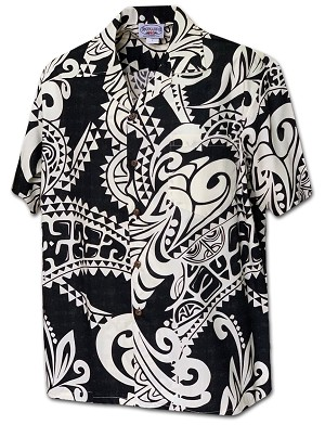410-3984 Black Pacific Legend Men's Hawaiian Shirts