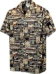 410-4762 Brown Men's Hawaiian Shirts (M-4XL)