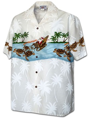 440-3918 White Pacific Legend Men's Border Christmas Hawaiian Shirts (M-4XL)