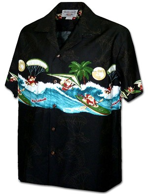 440-3960 Black Pacific Legend Men's Border Hawaiian Shirts