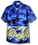 440-2846 Navy Pacific Legend Men's Border Hawaiian Shirts