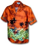 440-2846 Rust Pacific Legend Men's Border Hawaiian Shirts