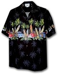 440-3313 Black Pacific Legend Men's Border Hawaiian Shirts