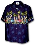 440-3313 Navy Pacific Legend Men's Border Hawaiian Shirts