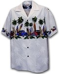440-3313 White Pacific Legend Men's Border Hawaiian Shirts