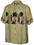 440-3466 Beige Pacific Legend Men's Border Hawaiian Shirts