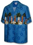 440-3466 Blue Pacific Legend Men's Border Hawaiian Shirts