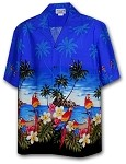 440-3468 Blue Pacific Legend Men's Border Hawaiian Shirts