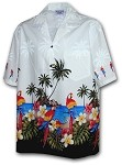 440-3468 White Pacific Legend Men's Border Hawaiian Shirts