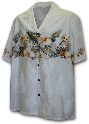 440-3545 White Pacific Legend Men's Border Hawaiian Shirts