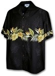 440-3634 Black Pacific Legend Men's Border Hawaiian Shirts