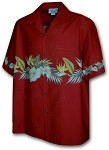 440-3634 Red Pacific Legend Men's Border Hawaiian Shirts