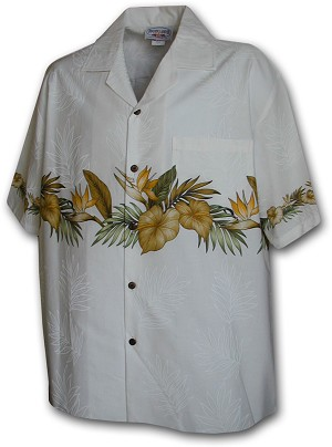 440-3634 White Pacific Legend Men's Border Hawaiian Shirts