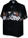 440-3700 Black Pacific Legend Men's Border Hawaiian Shirts