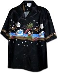 440-3725 Black Pacific Legend Men's Christmas Border Hawaiian Shirts