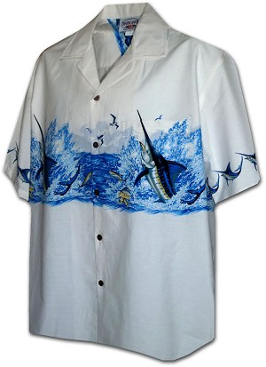 440-3747 White Pacific Legend Men's Border Hawaiian Shirts