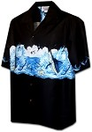 440-3747 Black Pacific Legend Men's Border Hawaiian Shirts