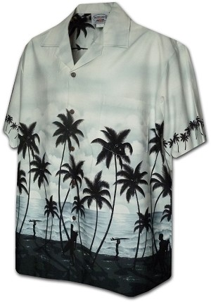 440-3759 Grey Pacific Legend Men's Border Hawaiian Shirts