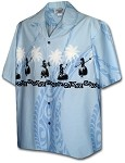 440-3793 Blue Pacific Legend Men's Border Hawaiian Shirts