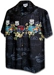 440-3804 Black Pacific Legend Men's Border Hawaiian Shirts