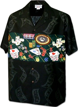 440-3862 Black Pacific Legend Men's Border Hawaiian Shirts