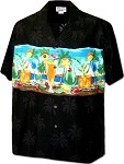 440-3864 Black Pacific Legend Men's Border Hawaiian Shirts
