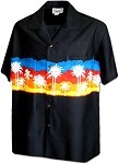440-3910 Black Pacific Legend Men's Border Hawaiian Shirts