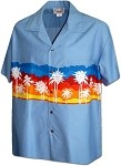 440-3910 Denim Pacific Legend Men's Border Hawaiian Shirts