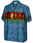 440-3924 Blue Pacific Legend Men's Border Hawaiian Shirts