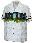 440-3924 White Pacific Legend Men's Border Hawaiian Shirts