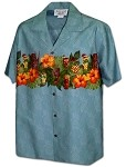 440-3944 Blue Pacific Legend Men's Border Hawaiian Shirts