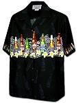 440-3946 Black Pacific Legend Men's Border Hawaiian Shirts