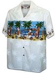 440-3958 White Pacific Legend Men's Border Hawaiian Shirts