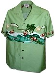 440-3960 Sage Pacific Legend Men's Border Hawaiian Shirts