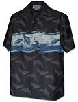 440-3962 Black Pacific Legend Men's Hawaiian Shirts