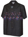440-3988 Black Pacific Legend Men's Hawaiian Shirts
