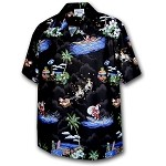 442-3650 Black Pacific Legend Men's Christmas Matching Front Hawaiian Shirts