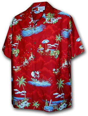 442-3650 Red Pacific Legend Men's Christmas Matching Front Hawaiian Shirts