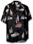 442-3658 Black Pacific Legend Men's Matching Front Hawaiian Shirts